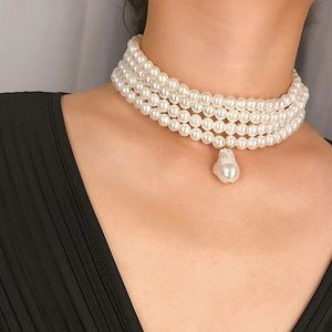 Multilayered Pearl Choker Necklace